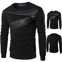 Men PU Leather Patchwork Zipper Casual Sweatshirt Jumper Pullover Tops Coat Tee