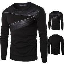 Herren Zip Langarm Shirt Warm Dicke Sweatshirt Strickbluse Sweaters Leder Spitze