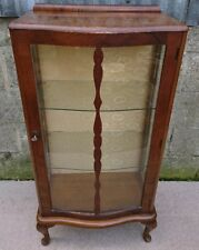 Antique 1930s Art Deco Walnut Glazed Display Cabinet
