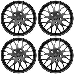 "4 Pc Set of 14"" Matte Black Hub Caps Cover for OEM Steel Wheel Covers Cap"