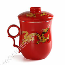 270ml Chinese Golden Dragon Ceramic Red Porcelain Tea Mugs Set Cup Lid strainer