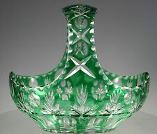 IMPERLUX Emerald Green  Cut to Clear Crystal Basket