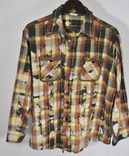 Rare Vintage ELY Bleached Plaid Cone Studded Western Shirt Browns Yellow Blue XL