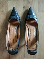 "New Bronx 6.5 37 Black Leather Cut Out Pump Shoe 2.5"" Heel"