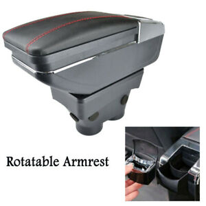 Rotatable Armrest Storage Box For Peugeot 208 2013-2018 Red Thread