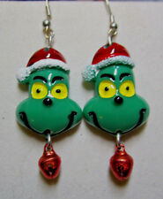 UNIQUE Grinch that Stole Christmas Bell 925 Earrings Resin Handcrated Nora's USA
