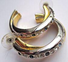 Bijou vintage boucles d'oreilles percées anneaux couleur or argent cristaux 730