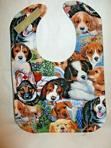 Handmade Large Baby Bib with Hook and Loop Closure. Washable Adorable Puppies