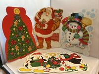 Vintage Lot of 4 Eureka USA Christmas Paper Wall Decorations Santa Tree Snowmen