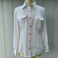 Pendleton woolen mills women's blouse top white Red Polka Dot long sleeve Size 8