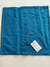 West Elm Pillow Case/Cover 20X20 With Buttons Blue
