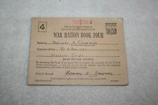 Vintage 1943 WAR RATION BOOK FOUR * includes 1 FULL Page of Stamps * Modesto CA