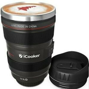 iCooker FFX-260 Camera Lens Thermos Mug, Stainless Steel Insulated, 12oz, Black