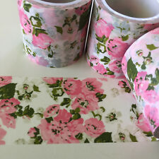 WASHI TAPE WIDE VINTAGE PINK & OLIVE FLORAL 40MM X 5MTR PLAN CRAFT WRAP MAIL ART