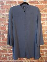Eileen Fisher sz S Silk Gray Duster Blazer Jacket Layer Lagenlook Flowy
