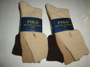 New Polo Ralph Lauren Men's 6-Pair Dress Socks Texture Khaki Tan Brown