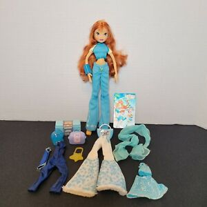 Winx Club Bloom Doll With Accessories, Outfits, Card, No Wings, 2004 Fairy