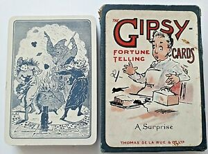 ANTIQUE PLAYING CARDS THOMAS DE LA RUE THE GYPSY FORTUNE TELLING 32 + 1 1910