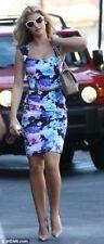 Lipsy Floral Pencil Celebrity Dress 10 Midi Multi Purple Blue Wedding Kardashian