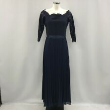 Coast Occasion Dress UK 14 Women Navy Blue Maxi Lace Sleeve Pleated Long 281116