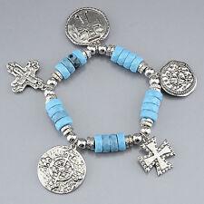 Silver Blue Stone St. Benedict Cross Charm Stretchable Bracelet