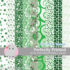 18 Patterned Paper Sq 140mm -Scrapbooking Cards Craft Paper - All Green
