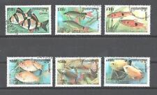 Poissons Cambodge (25) série complète de 6 timbres oblitérés