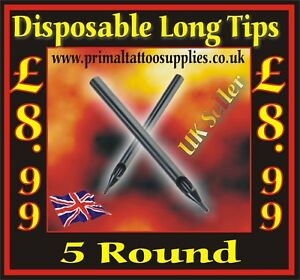 Disposable Long Tips 5 Round  -  Box of 50  - (Tattoo Needles - Tattoo Supplies)