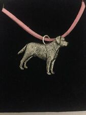 Labrador PP-D08 English Pewter Emblem on a Pink Cord Necklace Handmade
