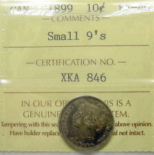 1899 SMALL 9's Ten Cents ICCS Certified EF-40 Beautiful HIGH Grade Victoria Dime