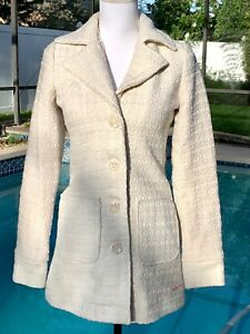 BILLABONG Women's Textured Wool Blend Cream Coat Size Small