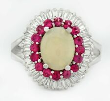 GENUINE 1.44 Cts OPAL, PINK & WHITE SAPPHIRES RING .925 Sterling Silver * NWT *