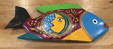 Vintage Mexican Hand Carved Wood Fish Hand Painted Folk Art