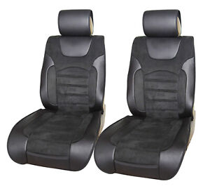2 Non-Slip Front Black Suede Car Seat Covers Mercury #8021