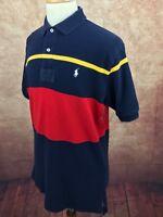 POLO by Ralph Lauren Vented Waffle Weave Mesh Short Sleeve Navy Stripe Men's L