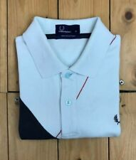Men's Pale Blue & Navy Blue Fred Perry Polo Shirt Small S Diamond Short Sleeve A