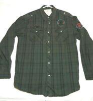 POINT ZERO Mens XL Military Casual Long Sleeve Shirt Green Cotton