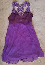 Purple Dress Size 12 100% Silk Lace Effect Party Dress
