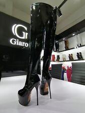 Giaro Plateau Overknee Stiefel Thigh High Heel Platform Boots Lack Schwarz Vida