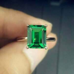 3.20Ct Emerald Cut Green Emerald Solitaire Engagement Ring 14K Yellow Gold Over