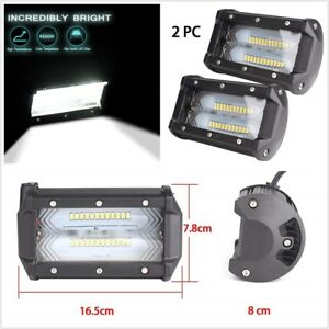 2x 5 Inch White LED Work Light Bar Spot Flood Off Road Driving Reverse 4x4 Ford