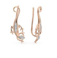 Earrings NEW Russian Solid Rose Gold 14K 585 fine jewelry lizard 1.69g zirconia