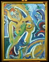 Acrylic painting on canvas, nude in gold & blue, Neith Nevelson, 1998