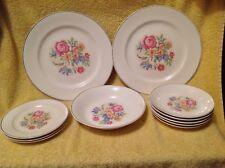 Set of 11 Harker Pottery PETIT POINT plat rim~various pieces~plates saucers bowl