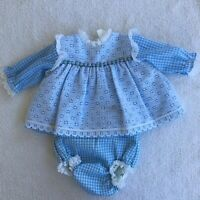 Vintage Nannette Blue White Gingham Lace Baby Dress And Bottoms 19-22 Pounds