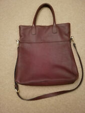Whistles Crescent Foldover Tote Bag Soft Burgundy Grain Leather (Cost new £275)