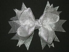 "NEW ""METALLIC SILVER"" Sparkly Hairbow Alligator Clips Girls Ribbon Bows 4.5 Inch"