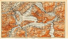 Carta geografica antica SVIZZERA Lago di Lucerna Old Map Switzerland Suisse 1905