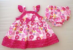 12-18m 18-23m Girls Summer Dress Flowery Cute Strappy Pink Bloomer Pants Toddler