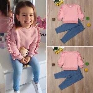 2PCS Toddler Kids Baby Girls Ruffle Tops Denim Pants Winter Outfits Clothes
